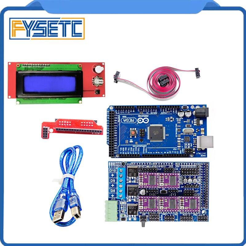 Mega 2560 R3 Mendel + rampes 1.5 Base de mise à niveau sur les rampes 1.4 + A4988/DRV8825 pilote de moteur pas à pas + 2004 LCD pour imprimante 3D