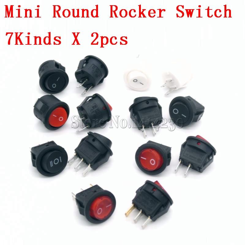 цена на 14Pcs Small Round Boat Rocker Switch Kit Mini Round 2Pin 3Pin 3A 250V 6A 125VAC 2/3 Position ON-OFF ON-OFF-ON 7kinds X 2pcs
