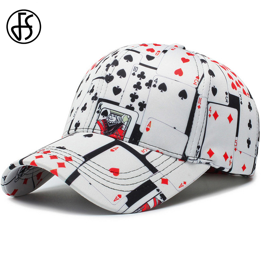 FS Streetwear Hip Hop Cotton Poker Print Cappellino   Baseball     Cap   For Women Men Outdoor Fashion Casquette Homme Bone Snapback Hat