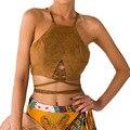 Vintage da moda Marrom De Camurça De Couro Falso Cropped Top Sexy rendas Até Mulheres Camis Encabeça Magro Partido Camisola Top Colheita cami