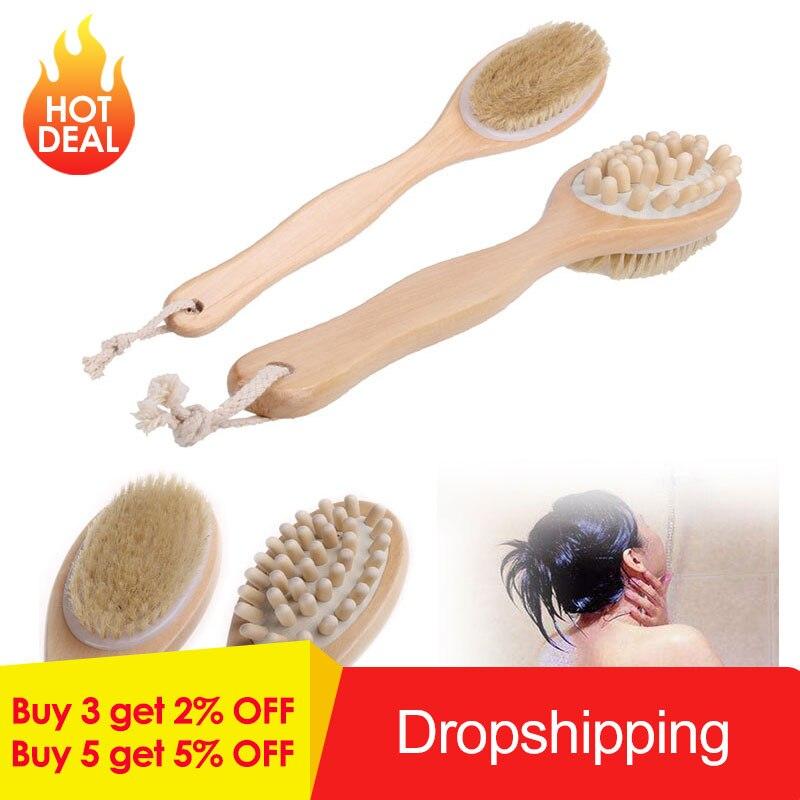 2-in-1 Body Brush Sided Natural Bristles Body Brush Scrubber Long Handle Wooden Spa Shower Brush Bath Massage Brushes(China)