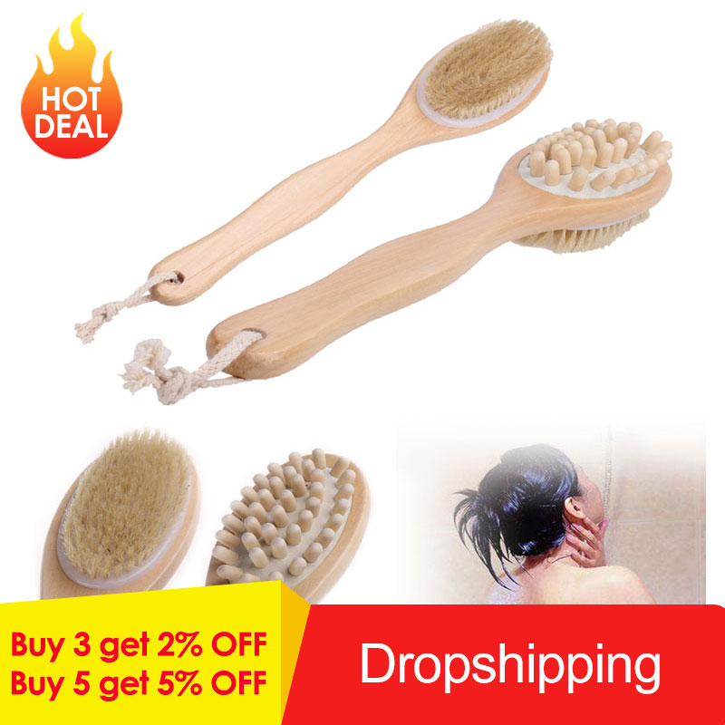 2-in-1 Body Brush Sided Natural Bristles Body Brush Scrubber Long Handle Wooden Spa Shower Brush Bath Massage Brushes Shower Brush Toiletries cb5feb1b7314637725a2e7: No Handle|With Handle