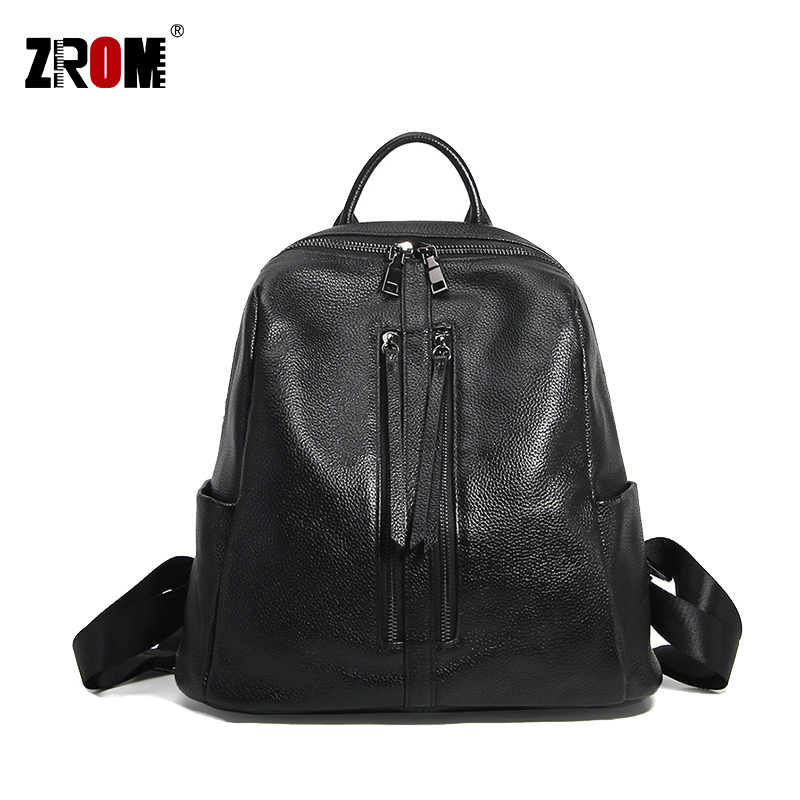 ZROM Brand Women Backpack High Quality Leather Backpacks for Teenage Girls Female School Fashion Shoulder Bag