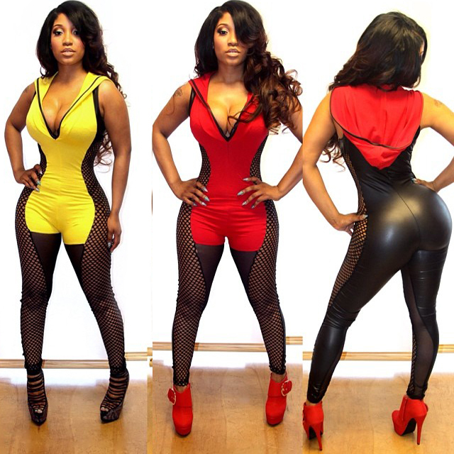 364bab1493 New Women Sexy Fishnet Panel Faux Leather Hooded Long Sleeve Bandage  Jumpsuit Bodysuit Catsuit Overall 4116
