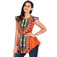 High Low Shirt African Dashiki Printed Top Full Zip Up Sleeveless Blouse For Women Summer Blouse Plus Size Clothes Oversize Lady
