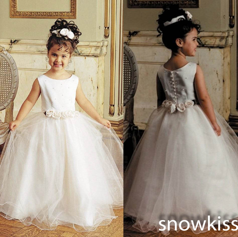New white/ivory flower girl dresses for wedding birthday sleeveless beaded prom ball gowns with flower sashes kids frock designs