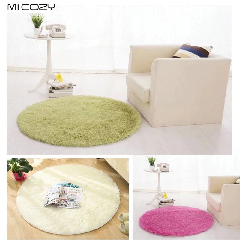 Anti-slip 80cm 100cm 120cm Thick Big Round Floor Carpets For Living Room Bathroom Circle Mat Rug