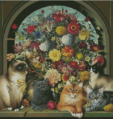 Free Delivery Top Quality Lovely Counted Cross Stitch Kit 6 Cats Kitties And Flower Flowers, Six Cats