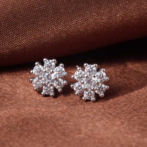 925 Sterling Silver Snowflake Earing Jewelery Woman Female Stud White Gold Shiny Crystal Fashion Christmas Gift New 7*7mm 1 Pair