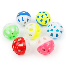 10pcs/lot Plastic Pet Cat Toys With Small Bell Diameter 3.5cm Colorful Ball Toy