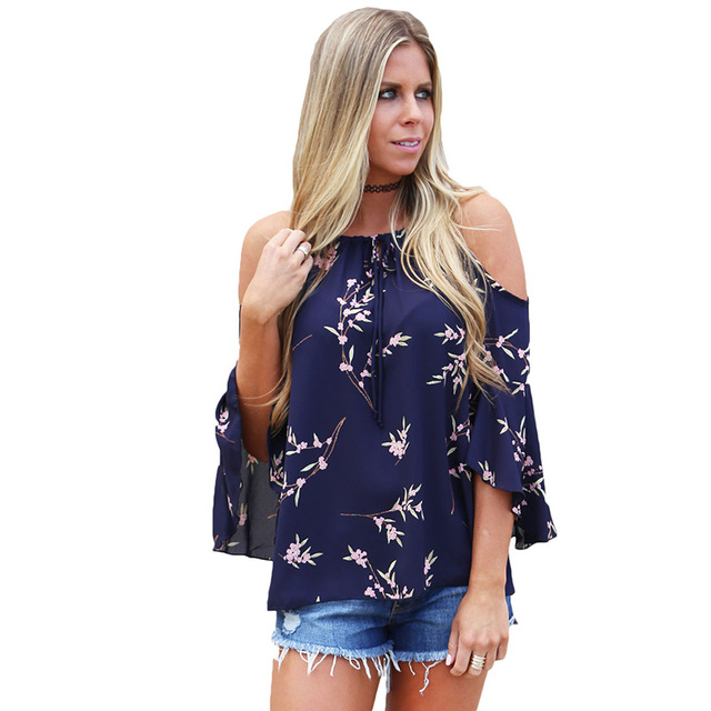 fe6ce1e79df83 Blouse Womens Cold Shoulder Women Tops and Blouses 2018 Fashion Floral  Printed Female Blouse 2018 Summer Plus Size Tops
