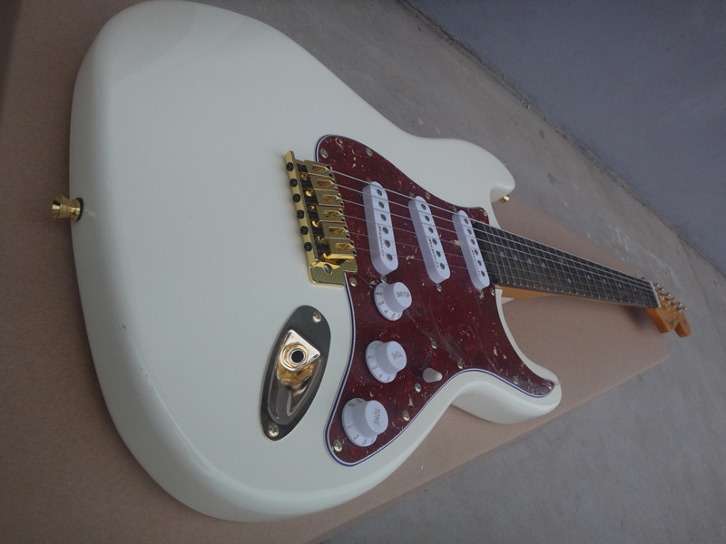 Factory wholesale electric guitar with 3 pickup cards, red , hardware quality, rose wood finger board, provide cutting,
