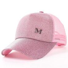 Brillo de cola de caballo de gorra de béisbol de las mujeres ocasionales  del Snapback Hip Hop gorras mujer lentejuelas brillo so. fb5d1339f76