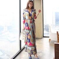 Plus Size Women V neck Corset Big Swing Long Dress Pleated Print Floral Dress Summer for Women 2019 Vestido De Festa Longo Vadio