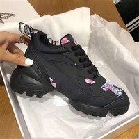 Женская Повседневная обувь Высококачественная роскошная дизайнерская кожа с цветами кроссовки спортивные дышащие Брендовые женские туфл