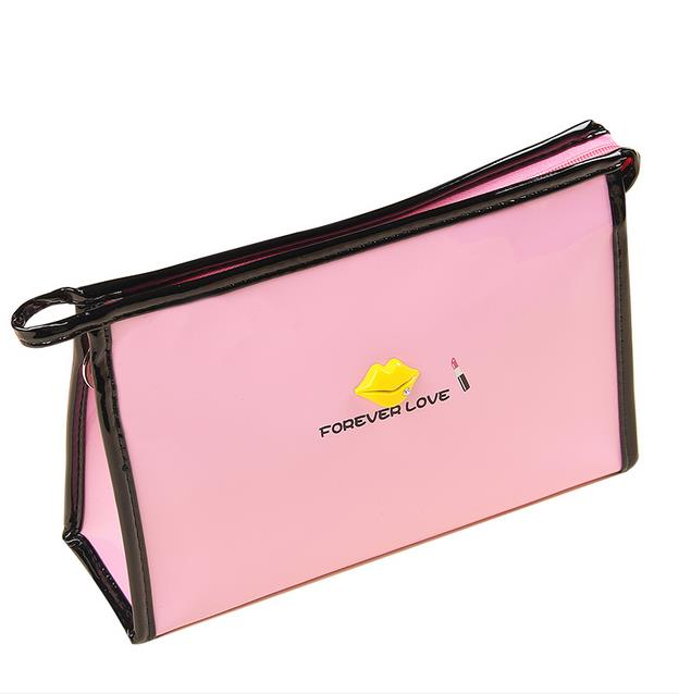 Women Cosmetic Bag Solid Candy Color With Lips Pattern Waterproof Travel Handbag Necessaries Make Up Organizers Kits Storage
