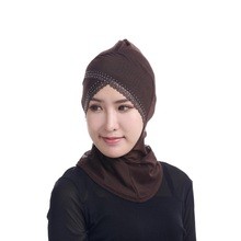 Womens Face-lift Muslim Hijab Ninja Single Cross Hot Drilling Lace Underscarf Head Islamic Cover Bonnet Hat Cap Scarf new