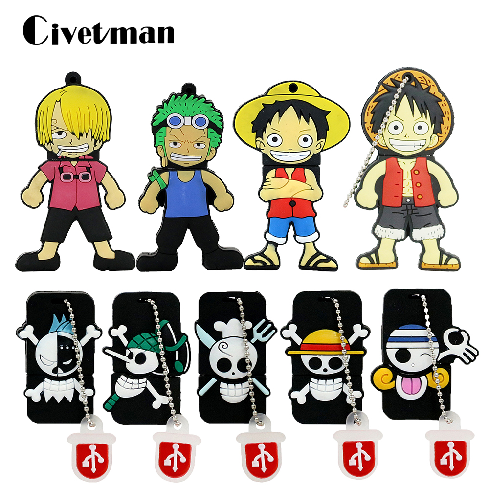Pen Drive One Piece 64GB USB Flash Drive 4GB USB 2.0 Cartoon Luffy U Disk 16GB Flashdrive 32GB Pendrive 8GB USB Memory Stick