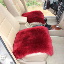 где купить KKYSYELVA Universal Car Seat Cover Pink winter Auto Wool Driver Seat Cushion Plush Seat Pad Wool Mat for home office Chair mat дешево