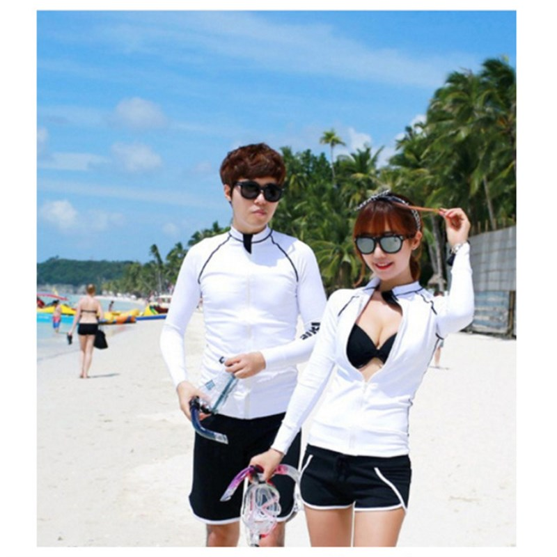 2018 Quick Dry Sun Protection Long-sleeved Surf Rash Guard Tops Men White Zipper Wetsuit Swimwear Shirt Water Sports Clothing Pakistan