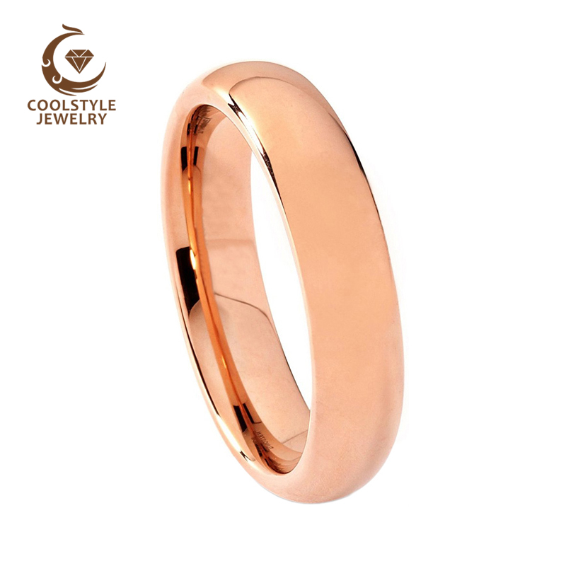 6mm Top Sale Mens Womens Rose Gold Color Plated Tungsten Ring Wedding Band Flat Comfort fit new pure au750 rose gold love ring lucky cute letter ring 1 13 1 23g hot sale