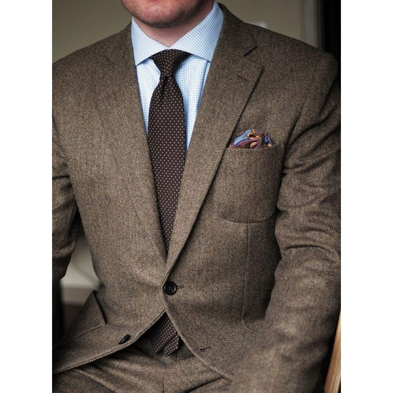 Tweed Vintage Men's Suits Wedding Groom Tuxedos Wool Herringbone British Style Groomsman Formal Prom Suits