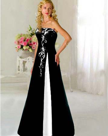 custom black white embroidery wedding dress bridal gown prom pageant plus size in wedding. Black Bedroom Furniture Sets. Home Design Ideas