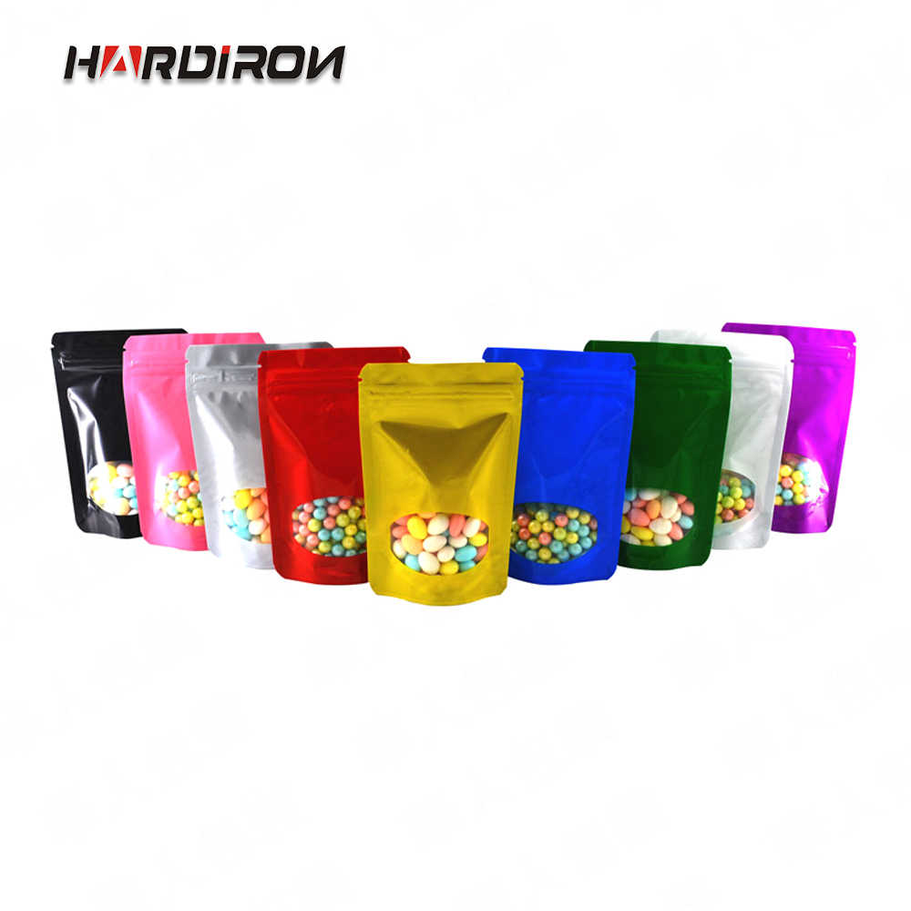 HARDIRON 100PCS Colored Aluminum Foil Vertical Zipper Lock Bag Coffee Candy Food With Transparent Window Sealed Packaging Bag