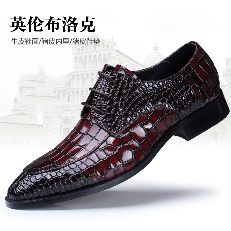 large size men luxury business wedding formal dress crocodile pattern genuine leather shoes pointed toe lace brogue oxfords shoe new brand designer formal men dress shoes lace up business party oxfords shoes for men pointed toe brogues men s flats plus size