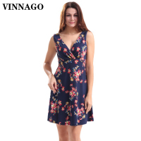 VINNAGO Sundress Summer Women Dress 2017 Casual Floral Beach Dress Sexy Holiday Wedding Cocktail Party Dresses