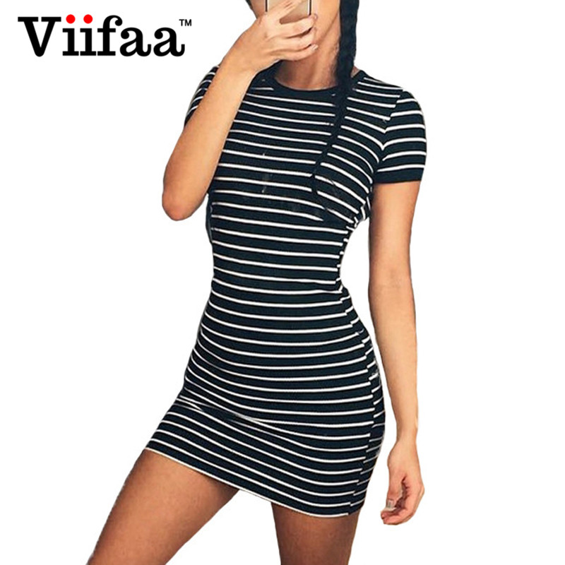 Viifaa 2017 Women Summer Bodycon Striped Dress Casual