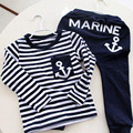 Fashion Children Clothing Navy Style Cotton Long Sleeve Pullover Striped Casual Sports Suit Pants + Tops Boys Clothes