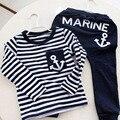 Niños de la manera Ropa de Algodón Estilo de la Marina de Manga Larga Rayas Pullover Deportes Casual Suit Pants + Tops Ropa de Los Muchachos