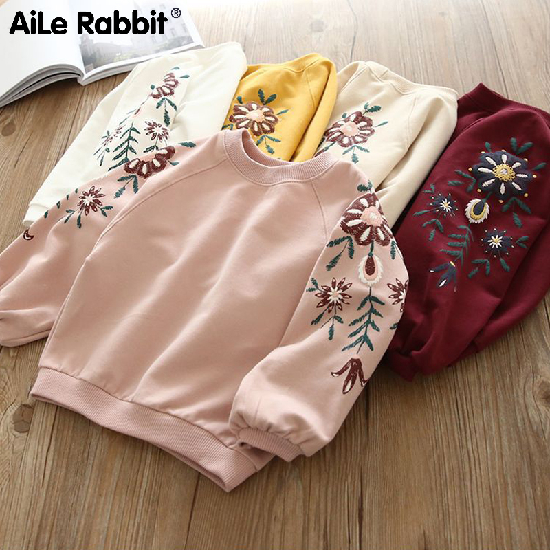 2019 Autumn New Girls Long-sleeved Sweater T-shirt Top Pink Embroidered Cartoon Rabbit Hoodie For Girls Clothes Fashionable
