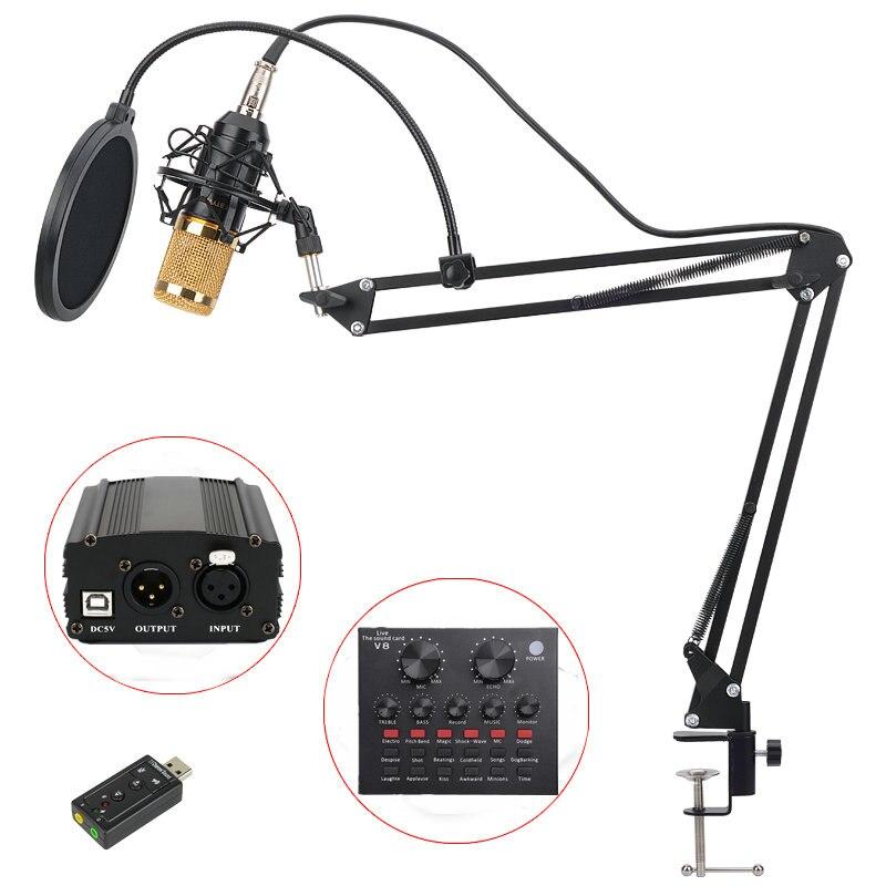 BM 800 micrófono de condensador profesional para de Audio de la computadora de estudio Vocal Rrecording micrófono fantasma de filtro pop tarjeta de sonido
