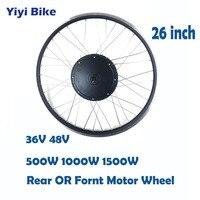 36V 48V 500W 1000W 1500W 26 inch Front Rear Motor Wheel Electric Bike Non gear DC Motor Brushless Motor Bicicleta Electrica kiti