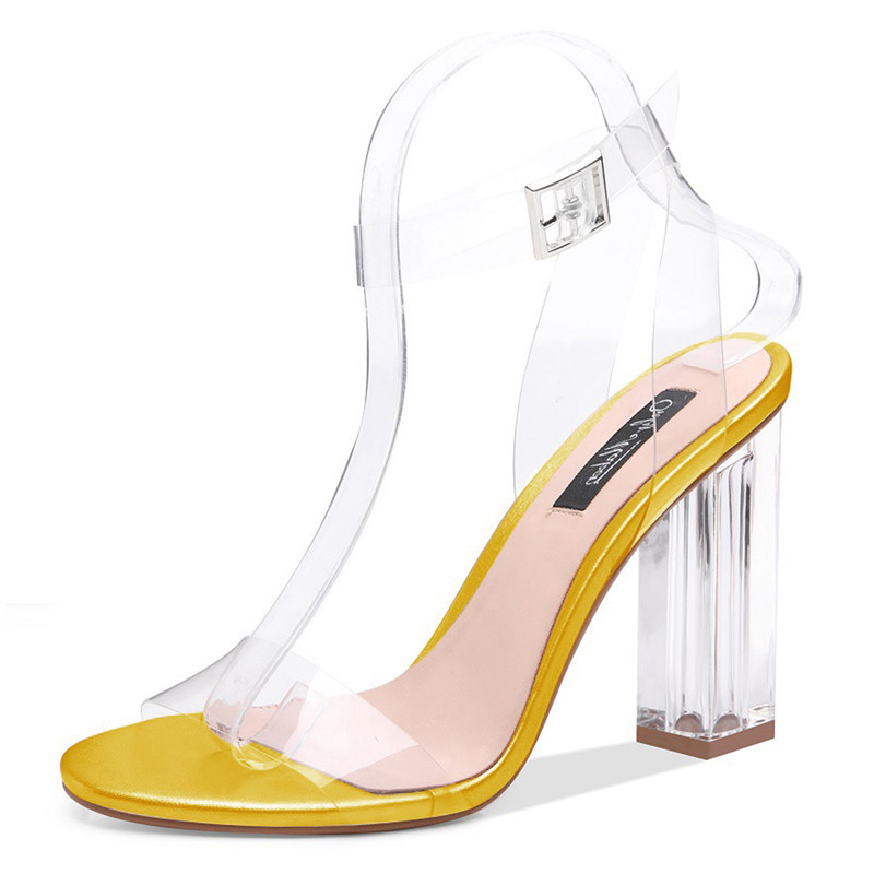 onlymaker Women's Lucite Clear Ankle Strap Adjustable Buckle Block Chunky Perspex High Heel Transparent Dress Sandals US15