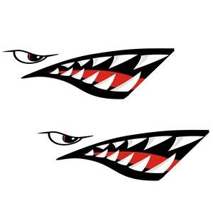 Image 5 - 2 Pcs Waterproof DIY Funny Rowing Kayak Boat Shark Teeth Mouth Sticker Vinyl Decal Sticker For Kayak Canoe Boat Left & Right