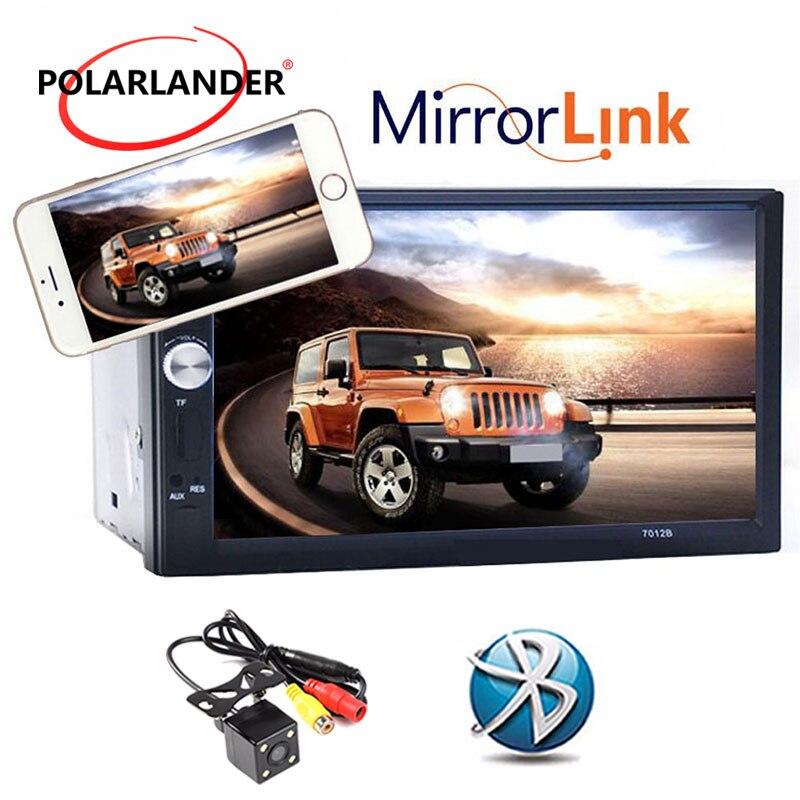 2 Din 7 ''pulgadas LCD pantalla táctil coche reproductor de radio apoyo 5 idiomas menú BLUETOOTH manos libres retrovisor cámara del coche del espejo enlace