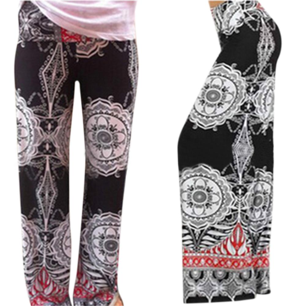 MISSKY European and American Ethnic Style Printing Middle Waist Fitted   Wide     Leg     Pants
