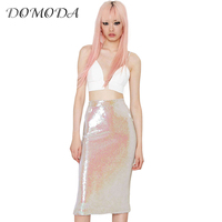 HDY Haoduoyi Women Summer Fashion Retro High Waist Skirt Sequined Pencil Bodycon Skirts