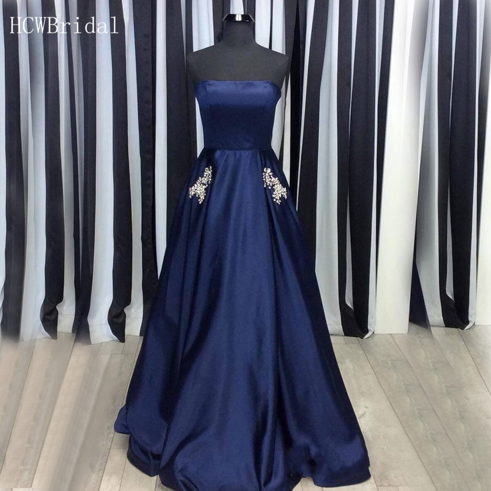Simple Navy Blue Satin Long   Evening     Dress   Strapless A Line Crystal Pockets Elegant Prom Gown 2019 Cheap Women Party   Dresses