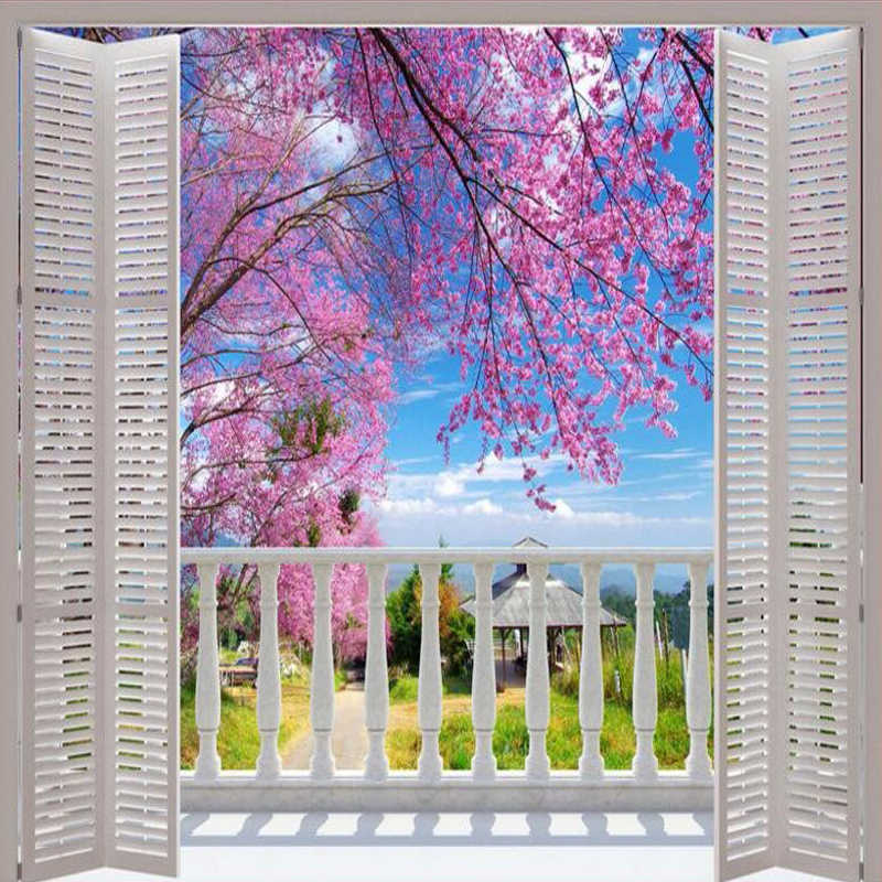 3D Foto Mural Foto Wallpaper Jendela Palsu Pemandangan Romantis Bunga Sakura Dinding Lukisan Dinding Ruang Tamu Kamar Tidur Dinding Kertas Dekoratif