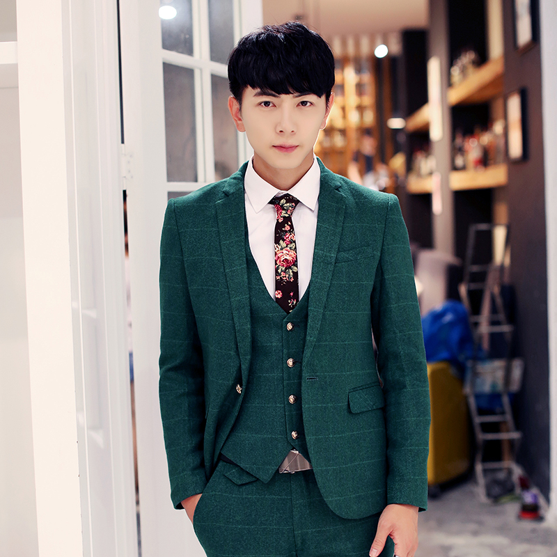3 Piece Suits Mens Wedding Groom Casual Dress Korean Style Blazer Plaid Slim Fit Latest Coat Pant Vest Designs Xy16 In From Men S Clothing