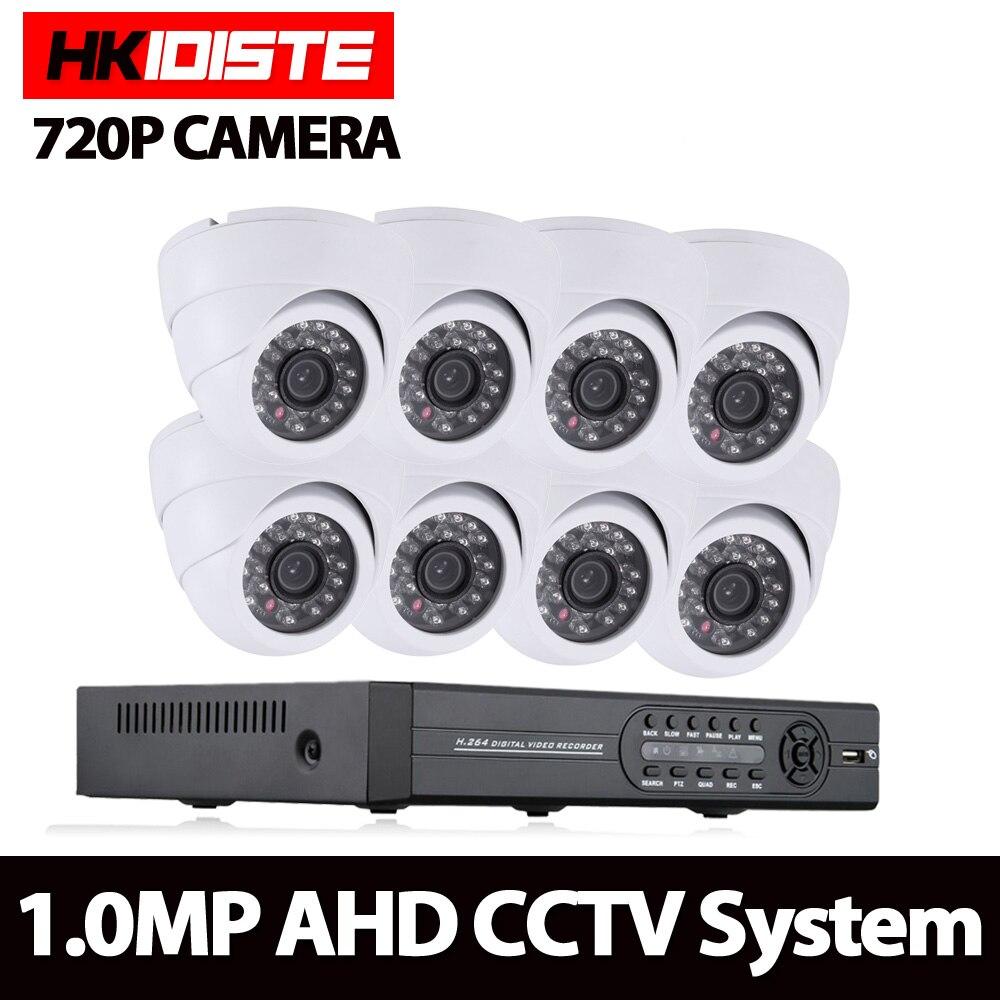 HKIXDISTE Home 8CH CCTV System 1080P HDMI DVR 720P 2000TVL indoor dome CCTV Camera set Home Security System Surveillance Kit
