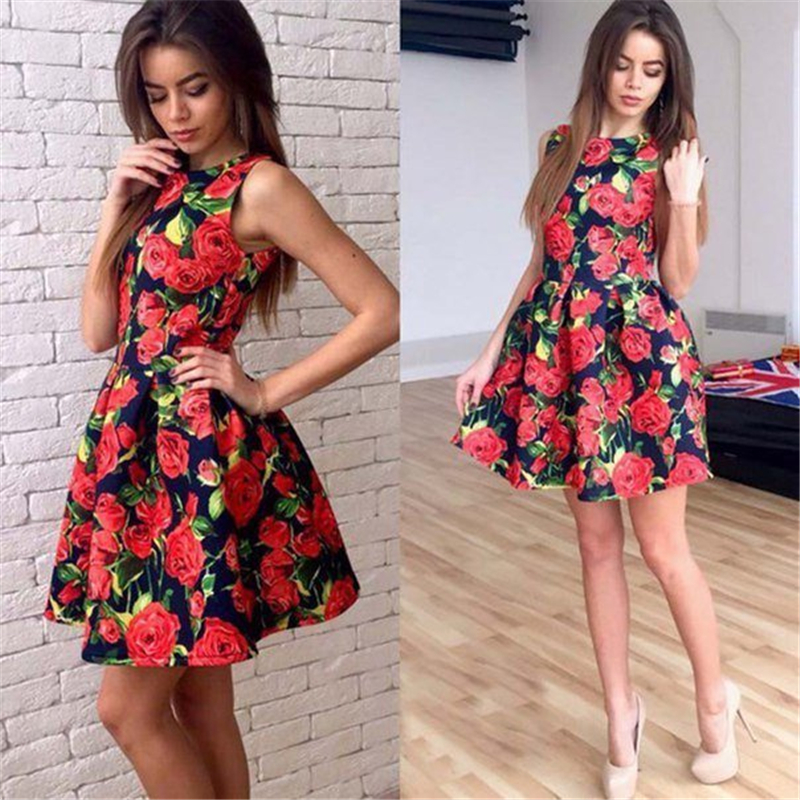 Woman's Fashion 2017 Summer Sexy Elegant Party Floral Dress Women Casual Print Beach Vintage Mini Sun Dress Plus Size