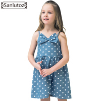 Sanlutoz Bow Kids Dress For Girl Polka Dot Children Clothing Cotton Casual 2017 Party Brand Princess