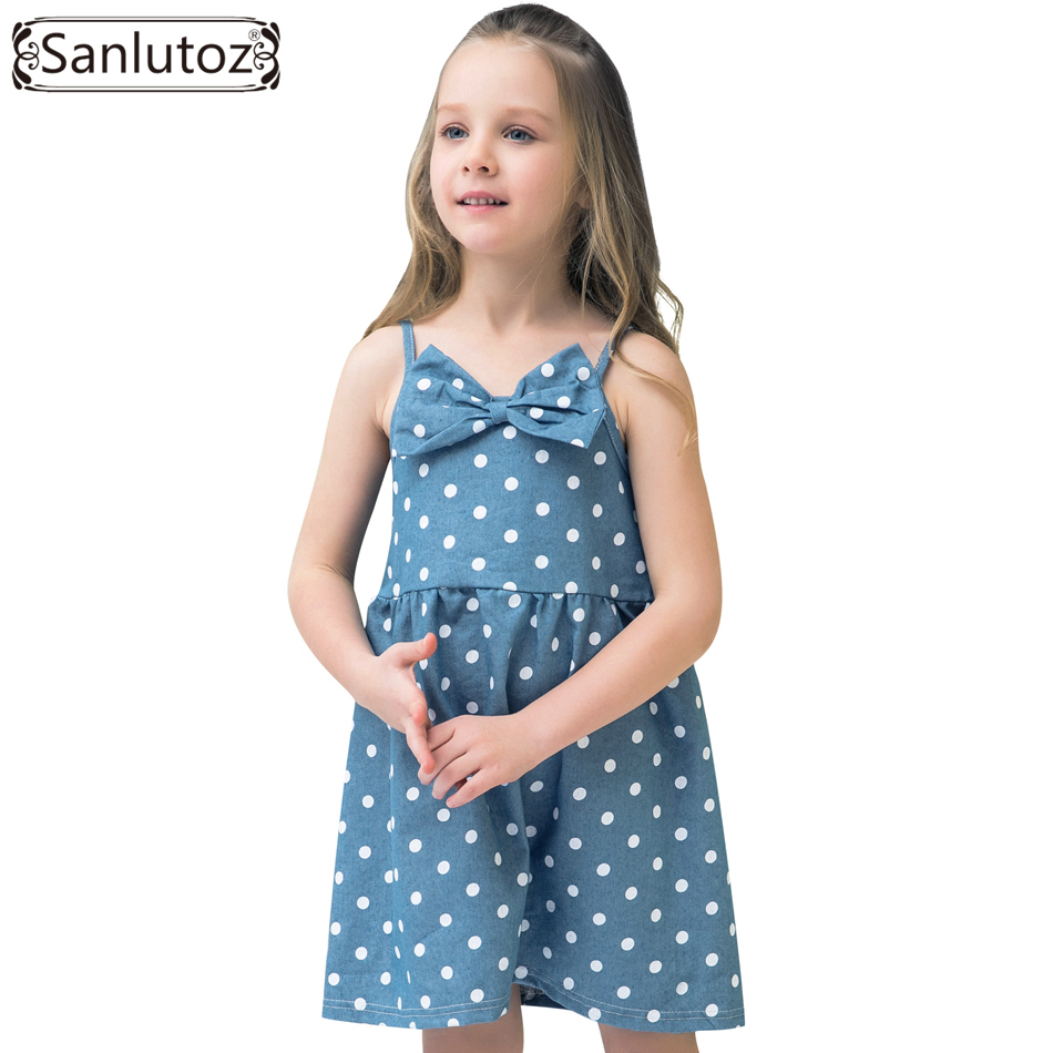 Sanlutoz Bow Kids Dress for Girl Polka Dot Children Clothing Cotton Casual 2017 Party Brand Princess Toddler new v neck princess girl polka dot dress bow belt pattern fashion pageant party kids clothing dot vestido girl 8 years baptism