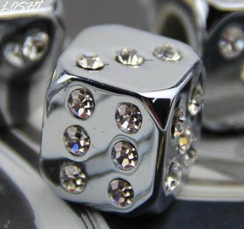 LOSFO 4 PCS Dés Valve Caps Haute Qualité Noir Pneu Air Valve Stem Caps Voiture Tronc Vélo Roue De Bicyclette Jantes Accessoires diamant