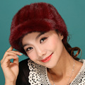 women genuine rex mink fur cap Russian style autumn winter new luxury super warm snow show lovely